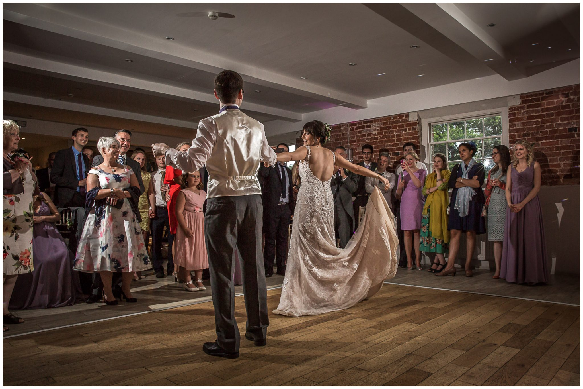 Sopley Mill wedding photography bride and groom first dance
