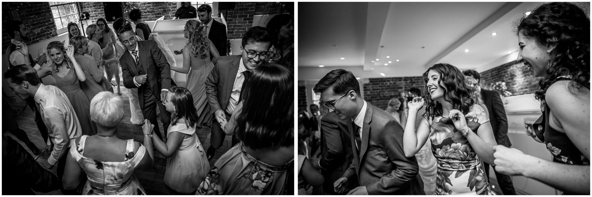Sopley Mill wedding photography guests partying black and white