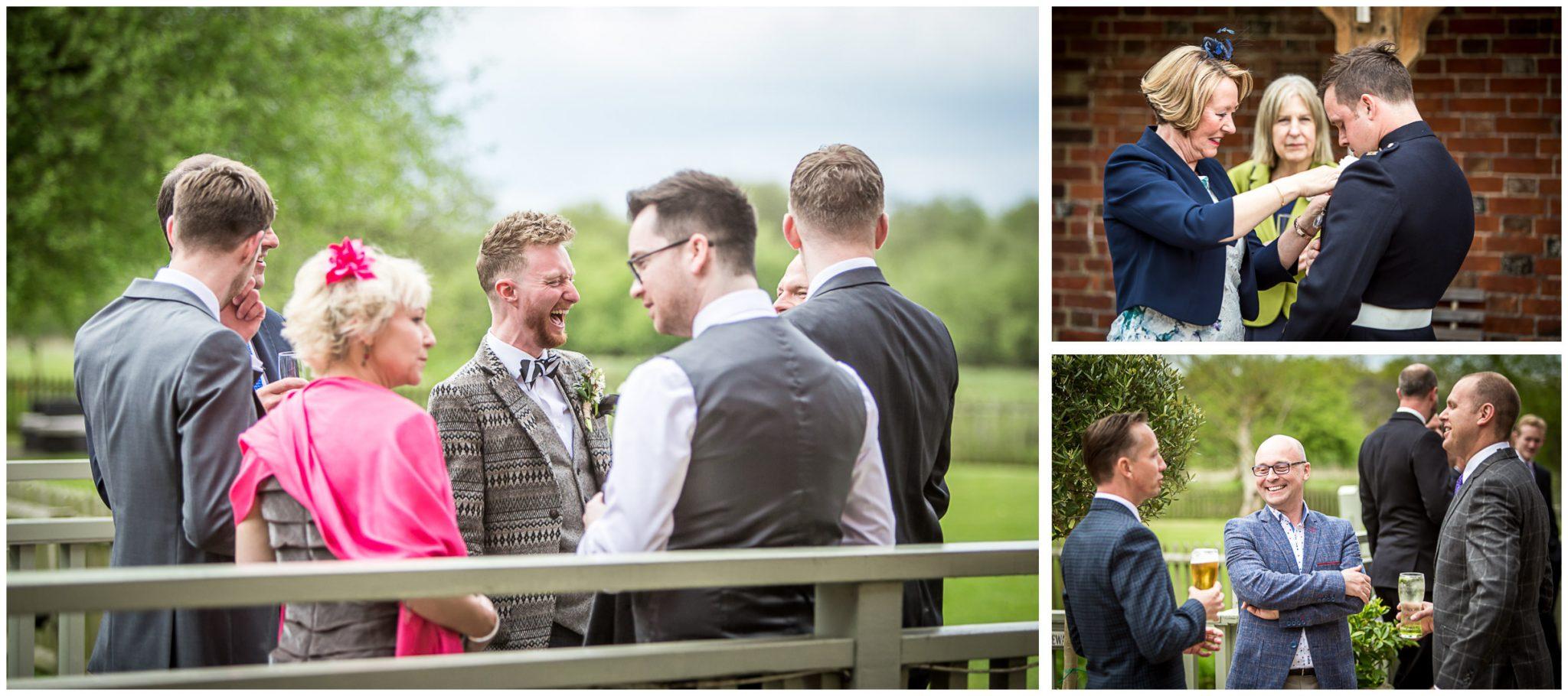 Sopley wedding photographer guests on the bridge