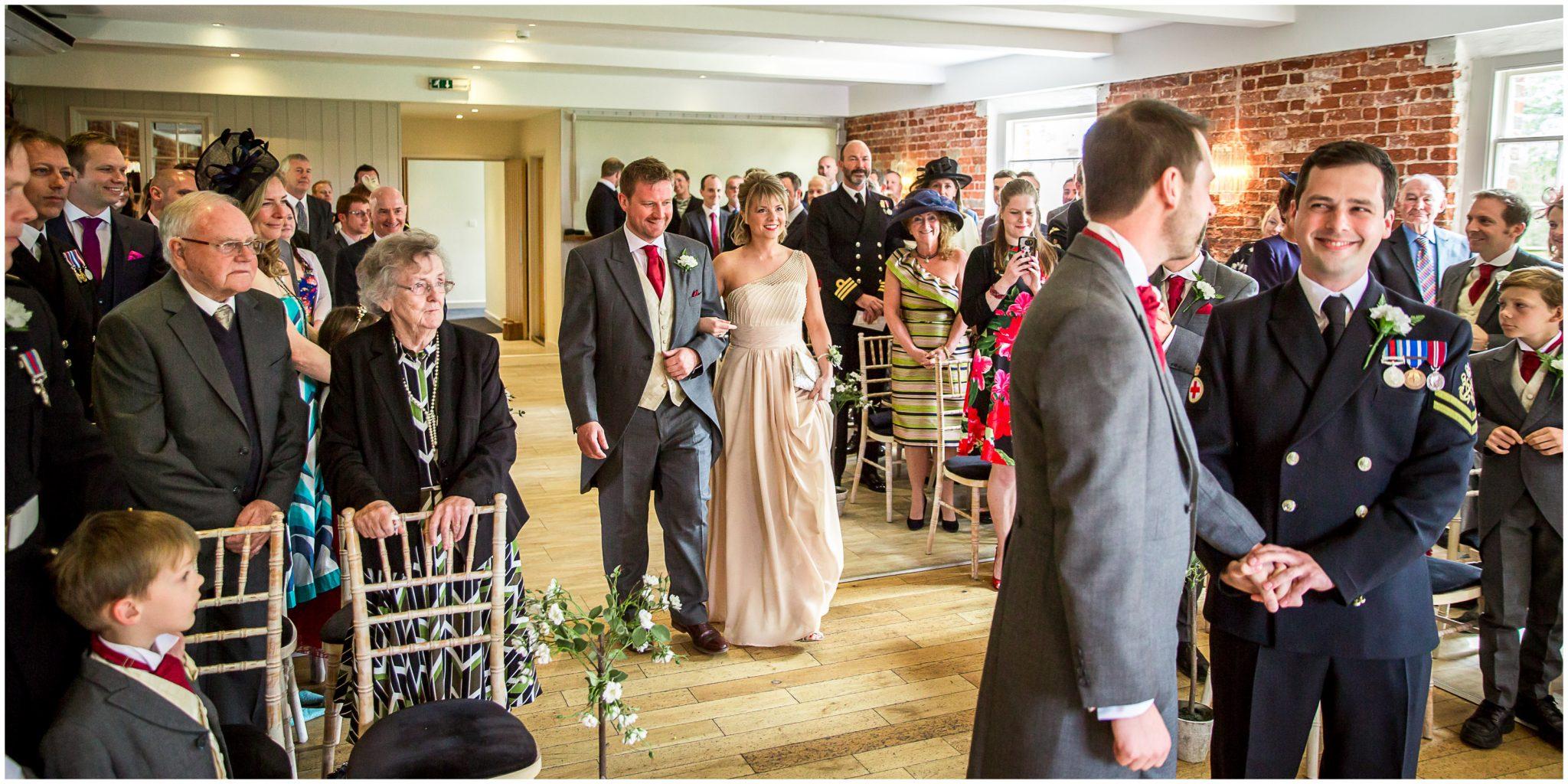 Sopley wedding photographer start of wedding ceremony