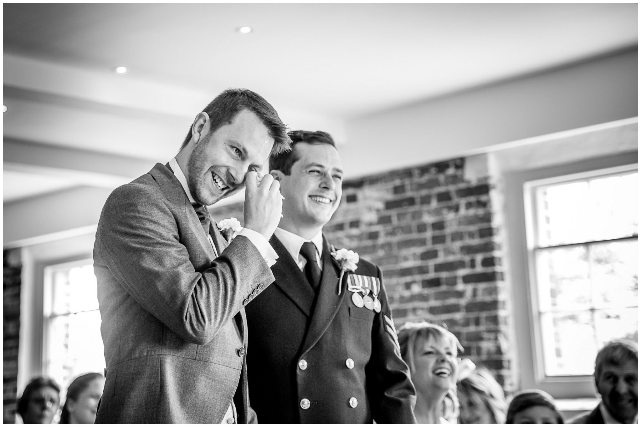 Sopley wedding photographer groom emotion during ceremony