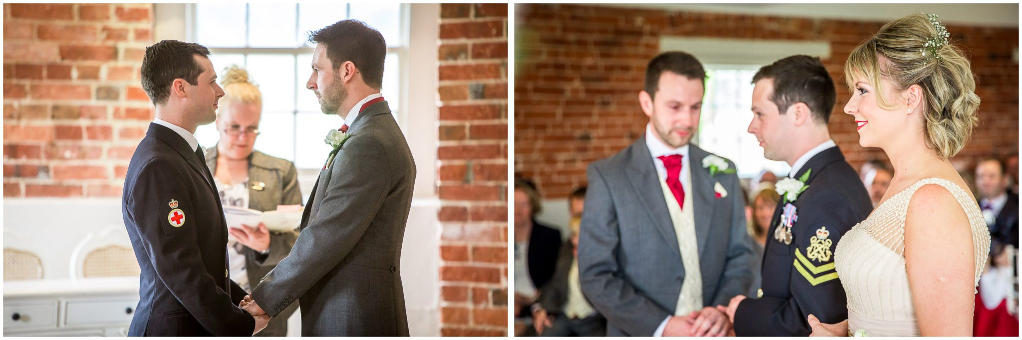 Sopley wedding photographer grooms face each other during ceremony