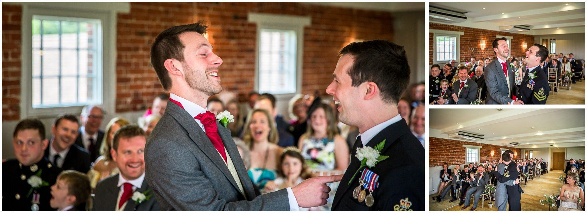 Sopley wedding photographer grooms embrace