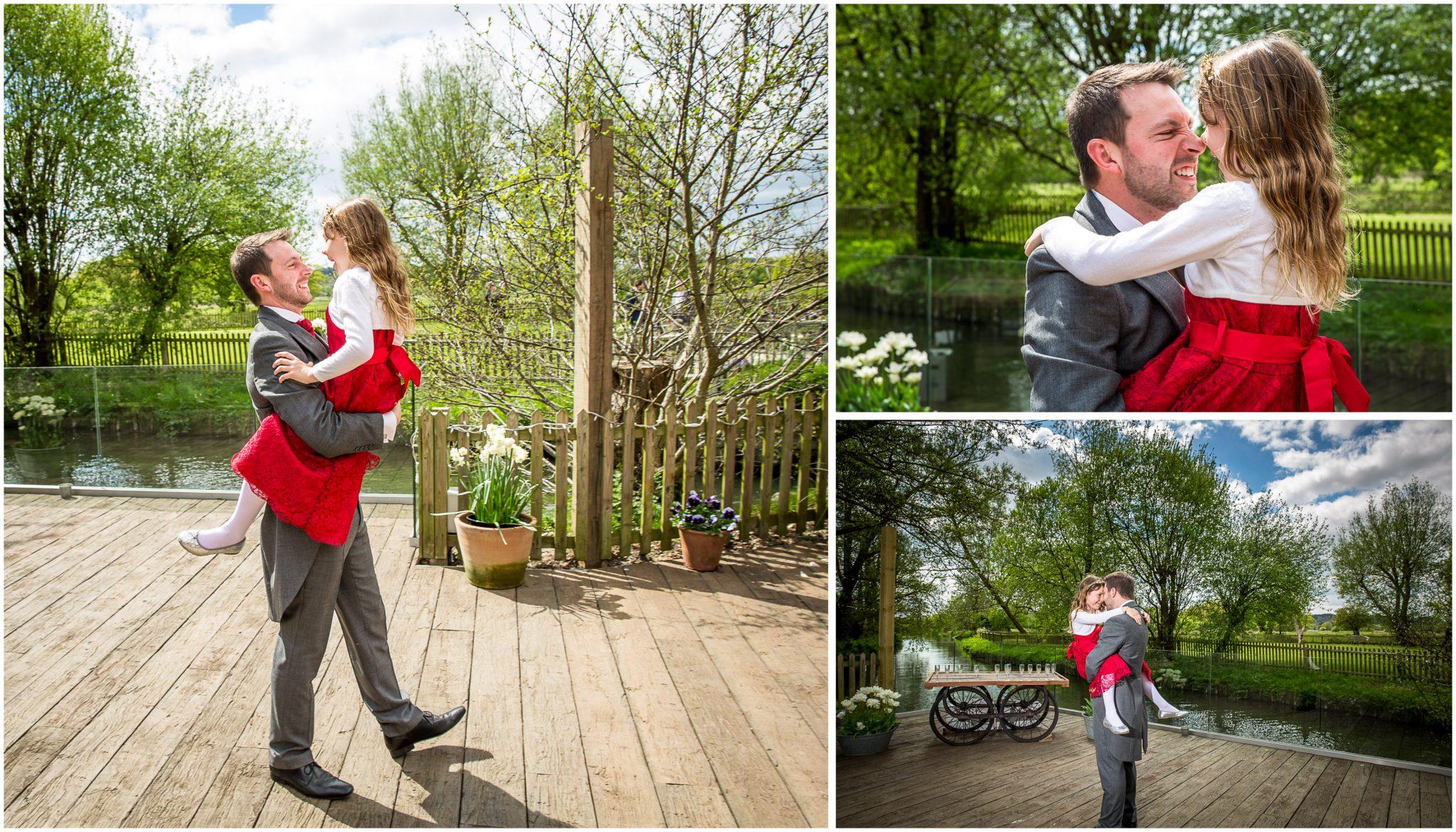 Sopley wedding photographer groom with flower girl