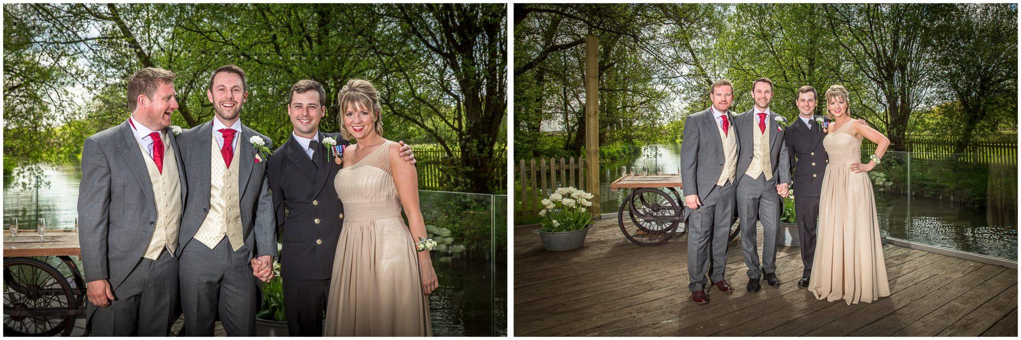 Sopley wedding photographer group photos on terrace