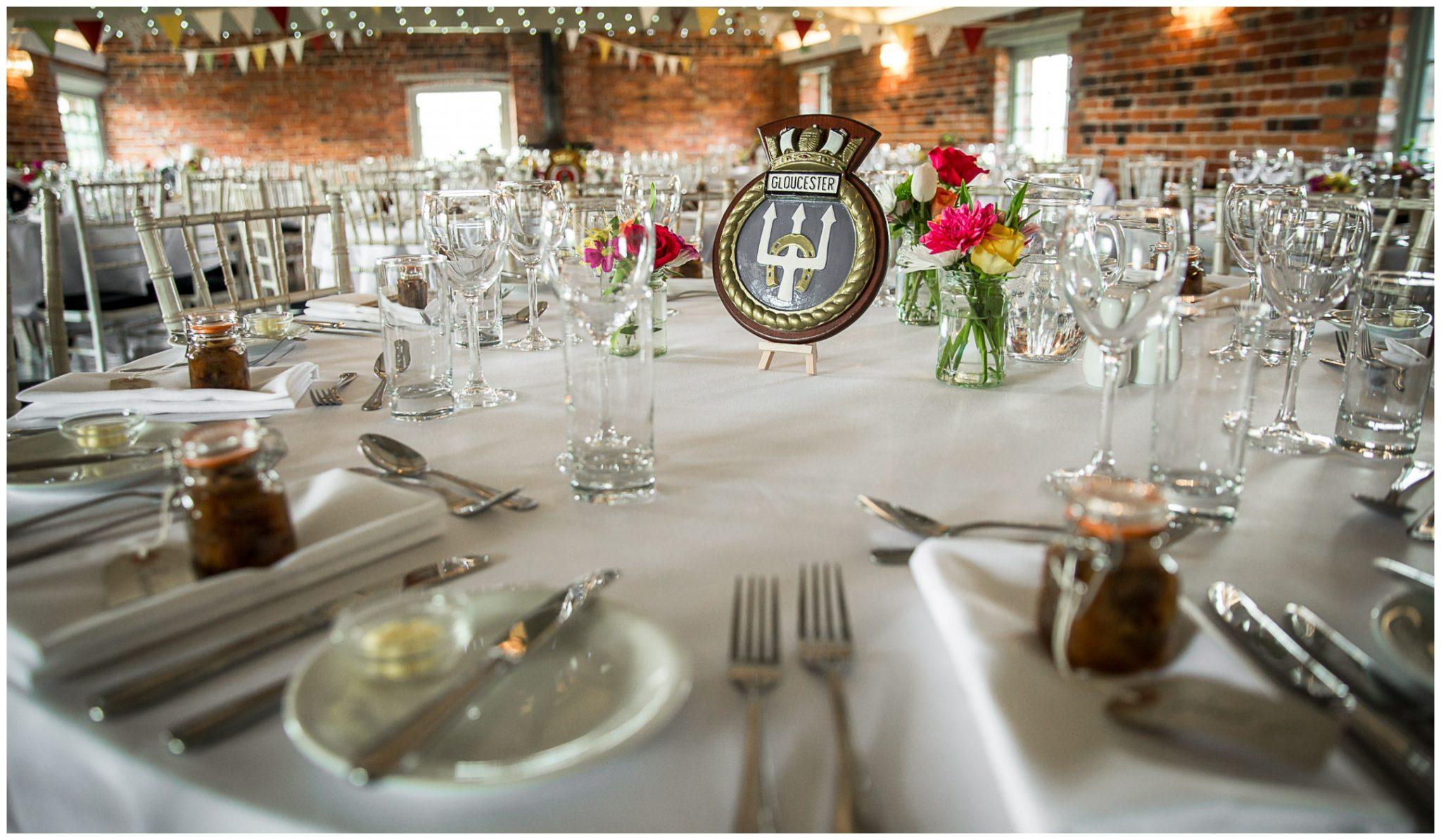 Sopley wedding photographer table settings for wedding breakfast
