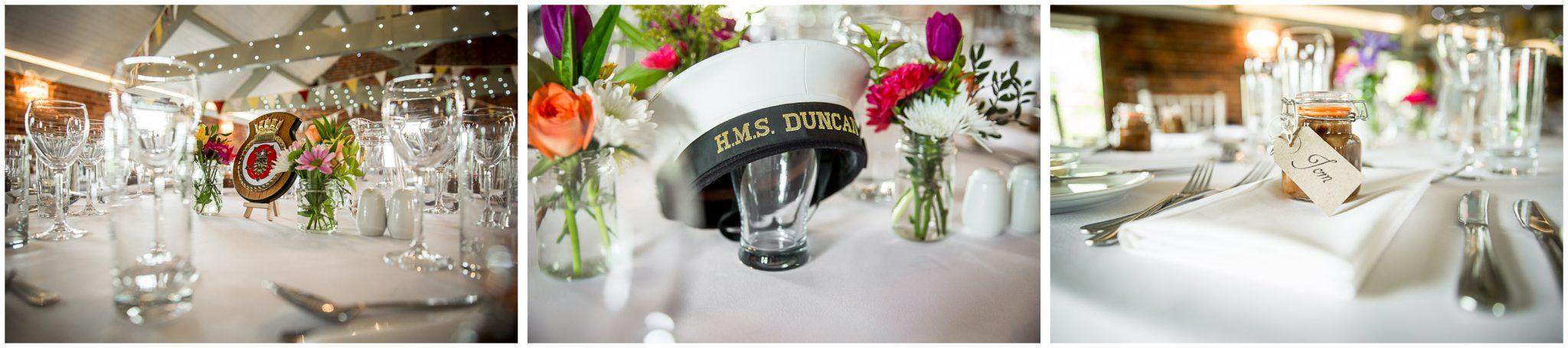 Sopley wedding photographer wedding breakfast table details
