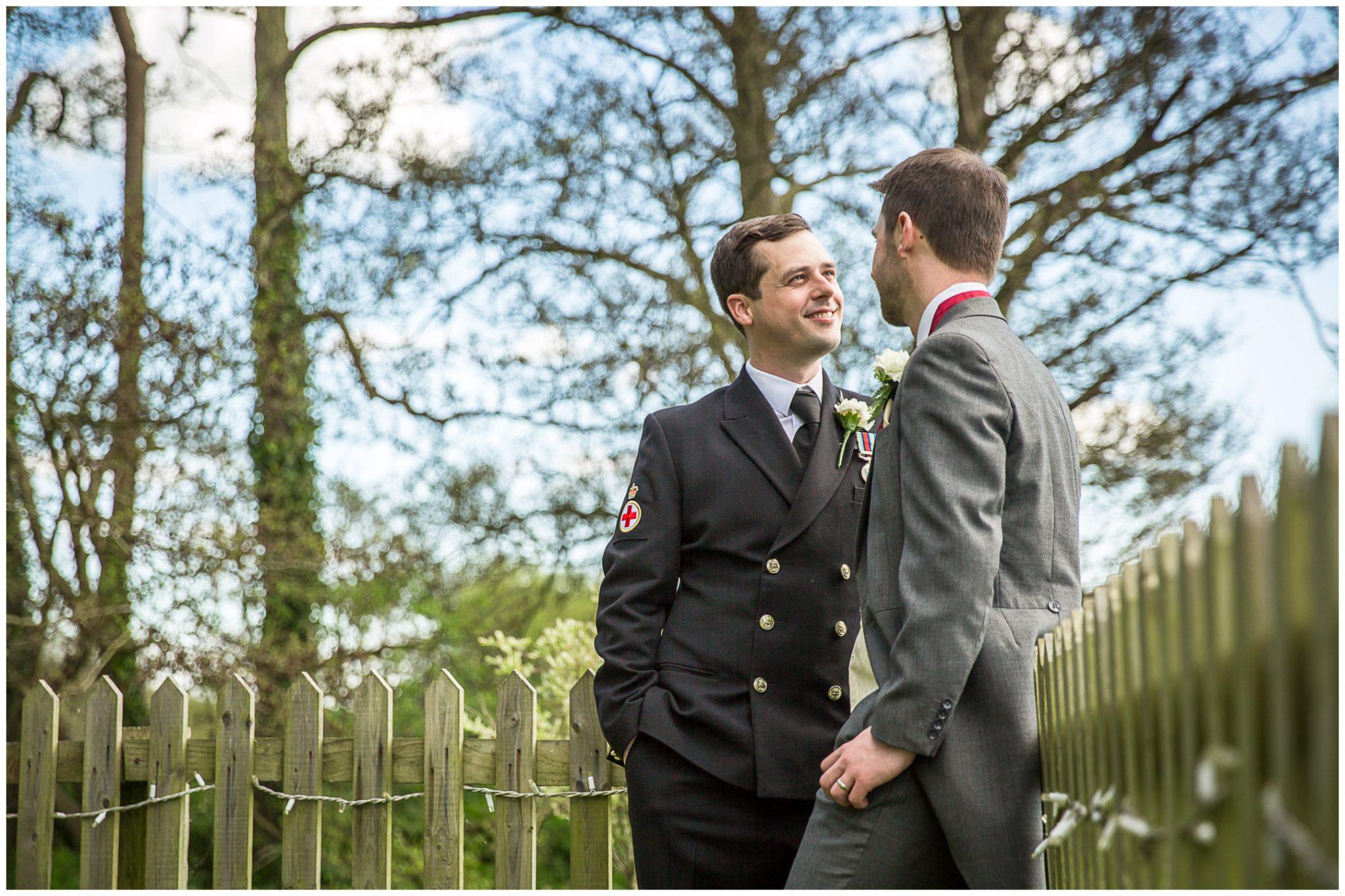 Sopley wedding photographer grooms in garden
