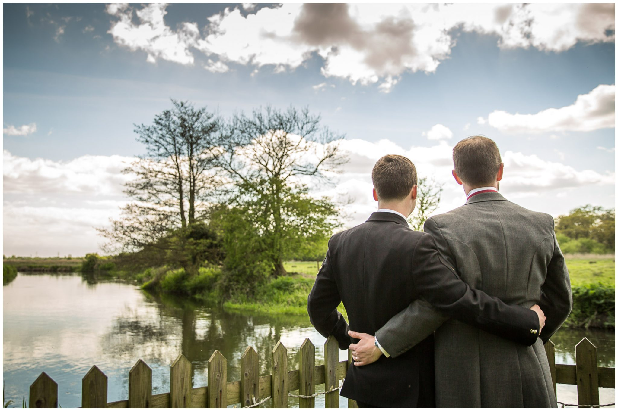 Sopley wedding photographer view over river from end of garden