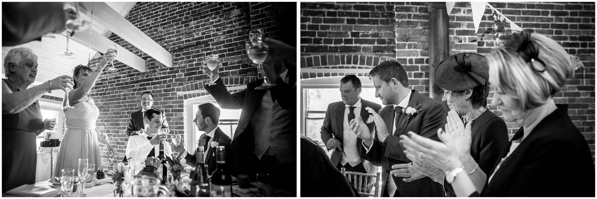 Sopley wedding photographer toasting the couple