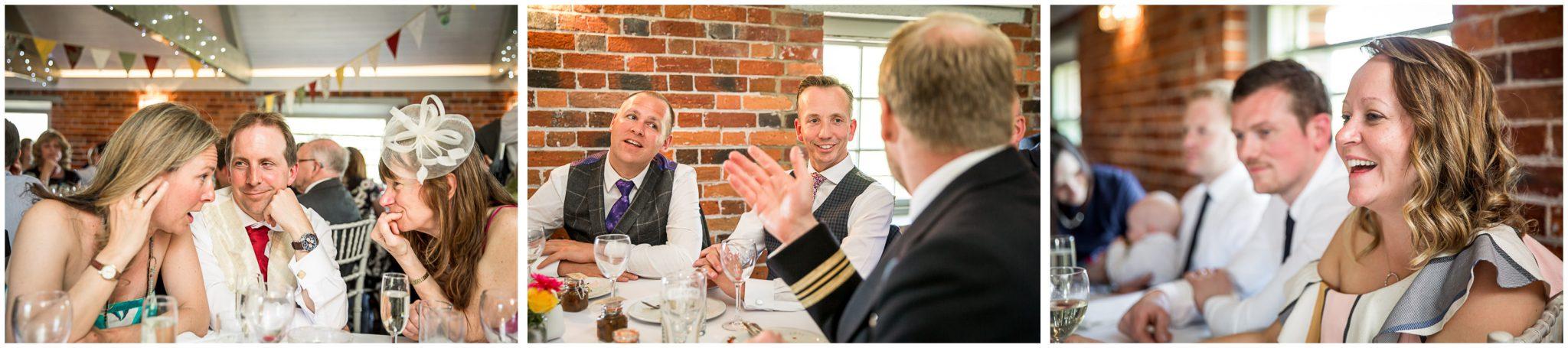Sopley wedding photographer guests during wedding breakfast
