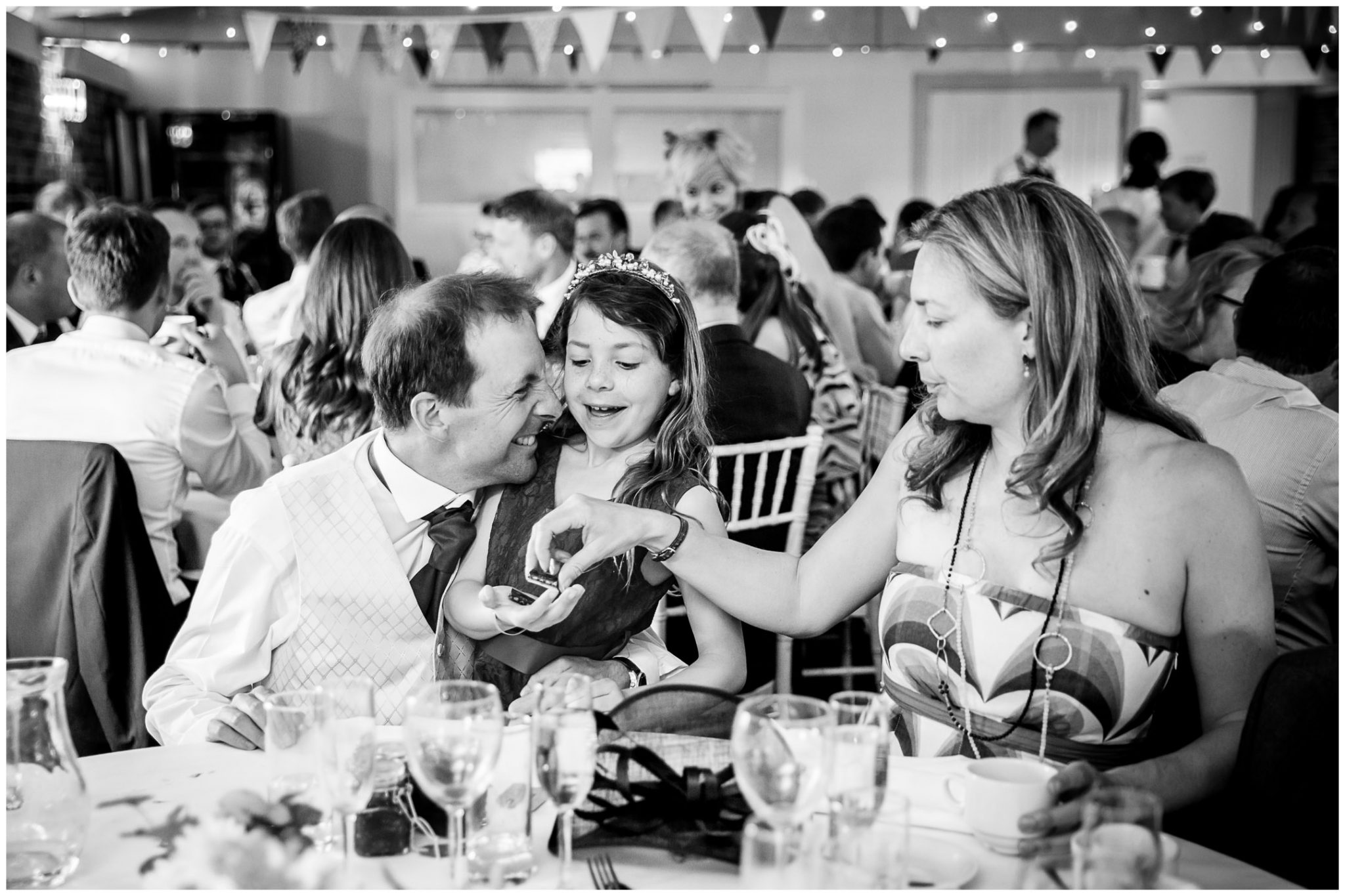 Sopley wedding photographer guests black and white