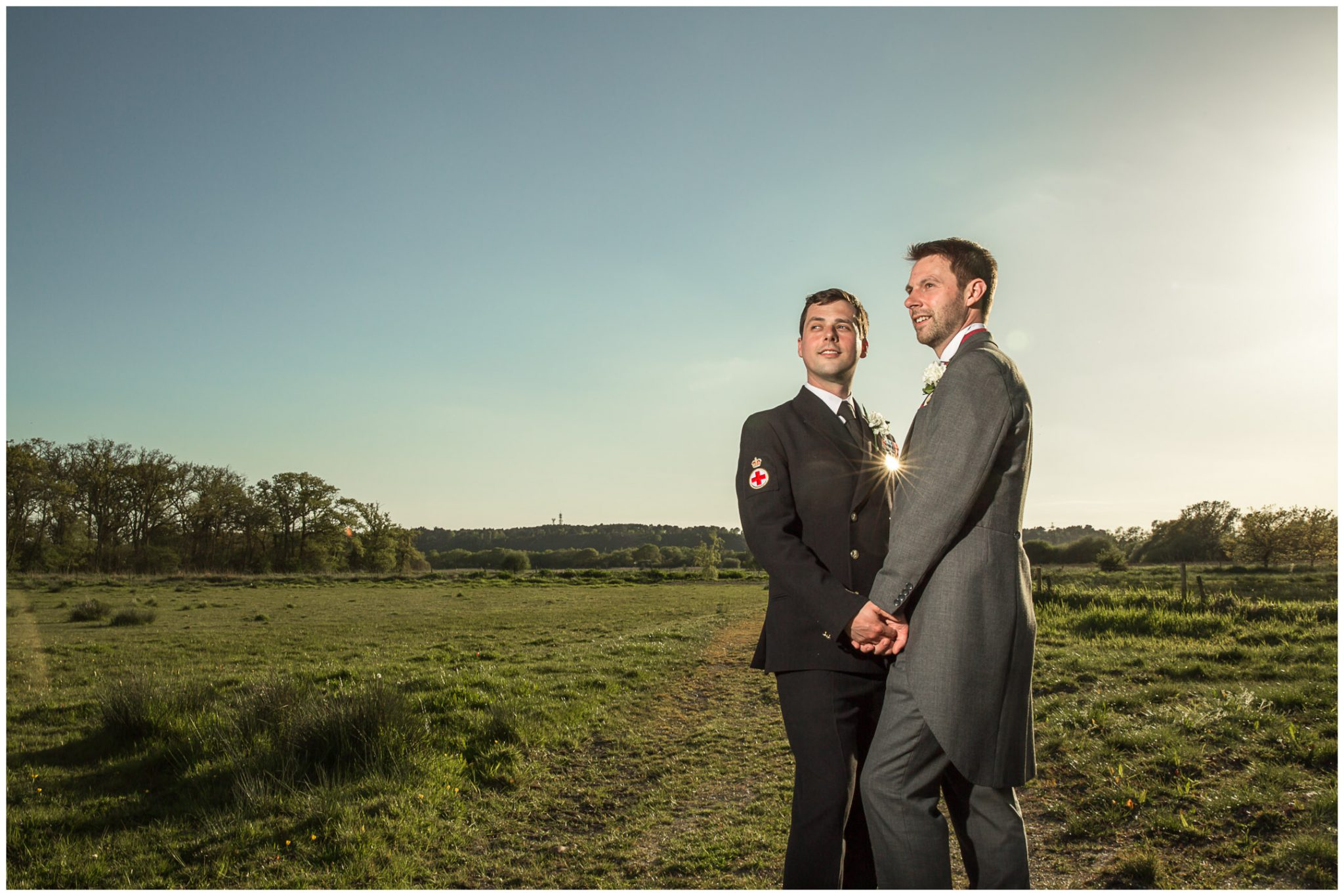 Sopley wedding photographer couple portrait in water meadows