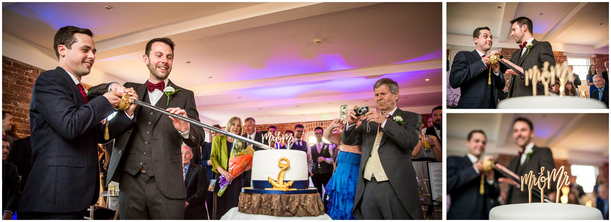 Sopley wedding photographer couple cutting cake with ceremonial sword