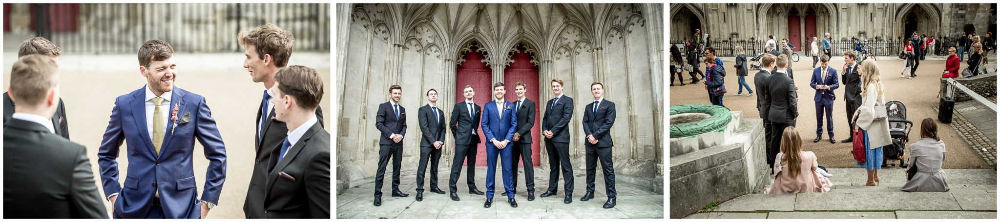 winchester cathedral wedding photography groom before ceremony