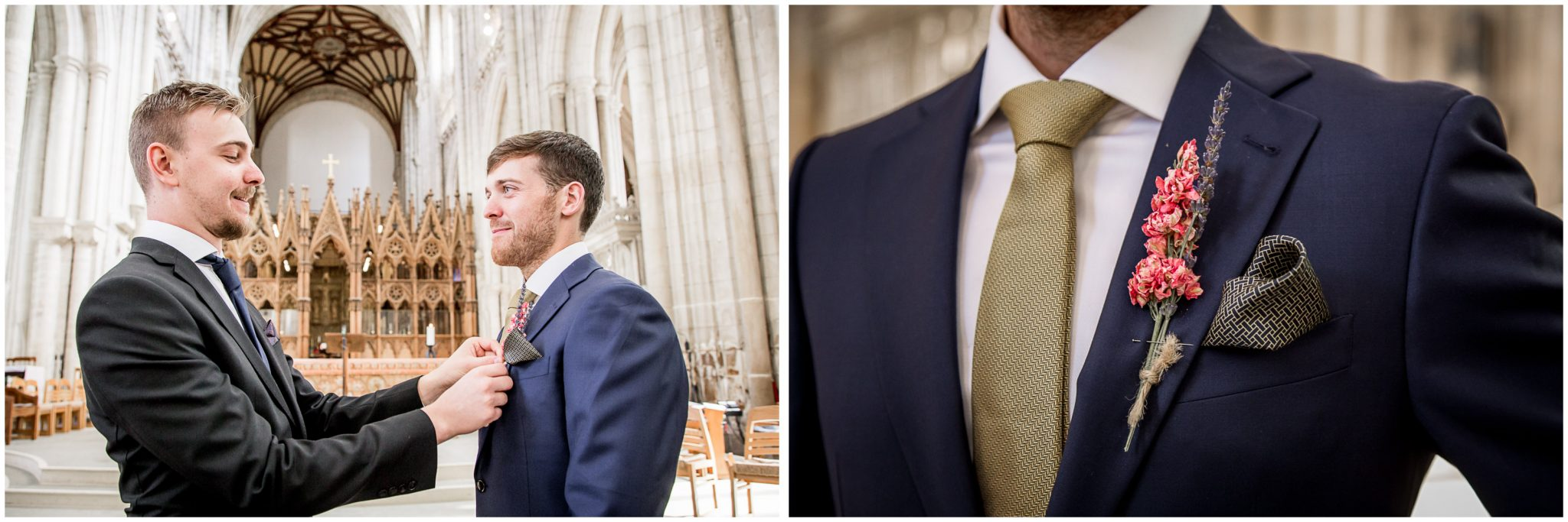 winchester cathedral wedding photography groom and best man before ceremony