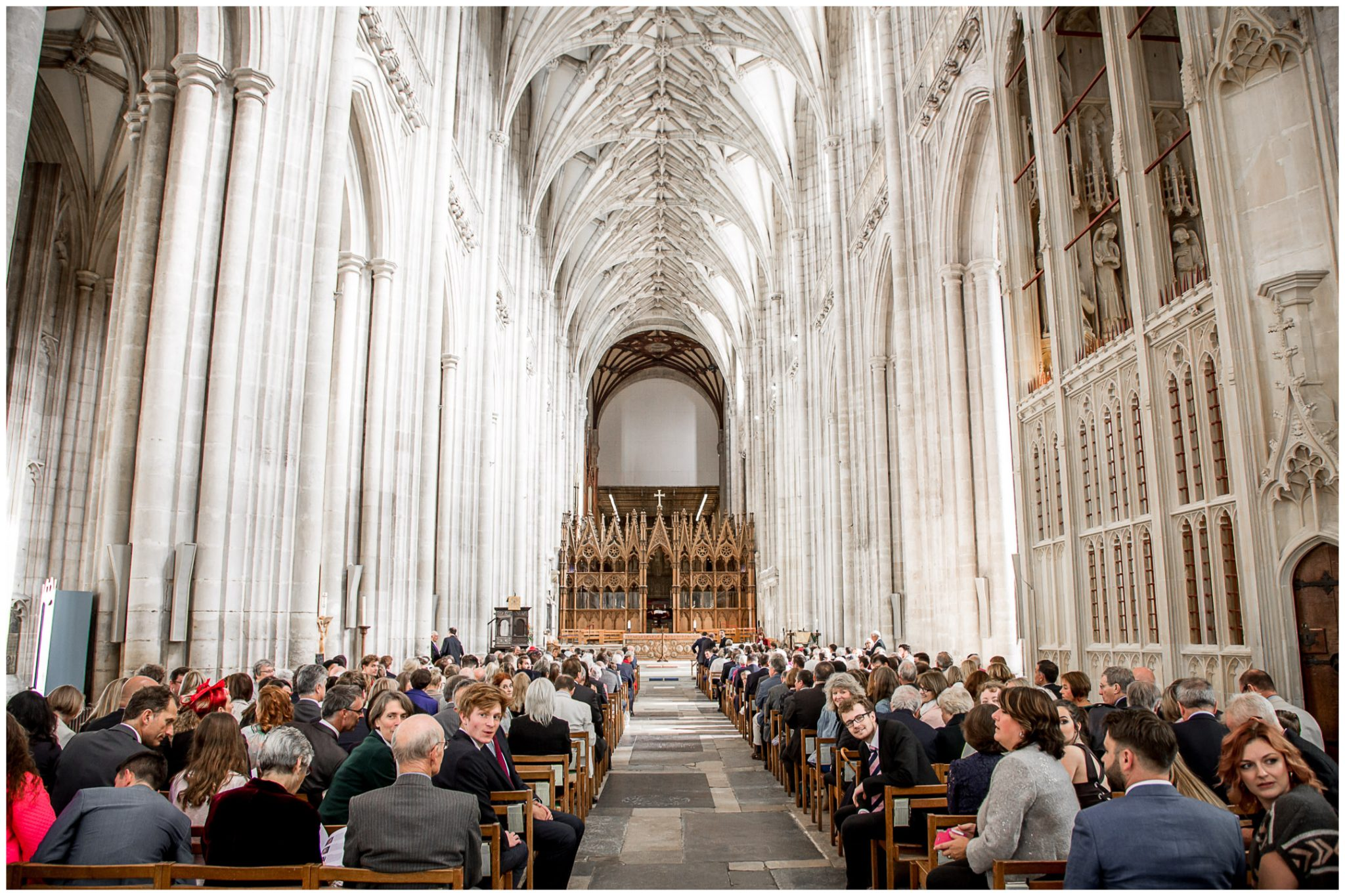 winchester cathedral wedding photography church interior before ceremony