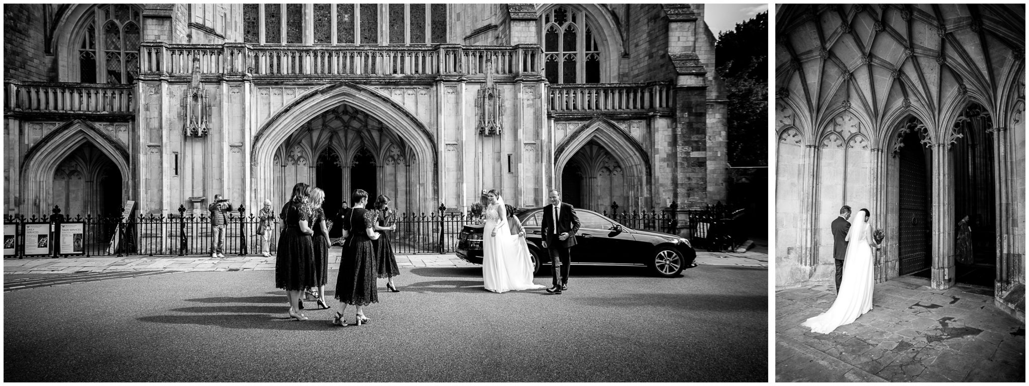 winchester cathedral wedding photography bride and bridesmaids enter