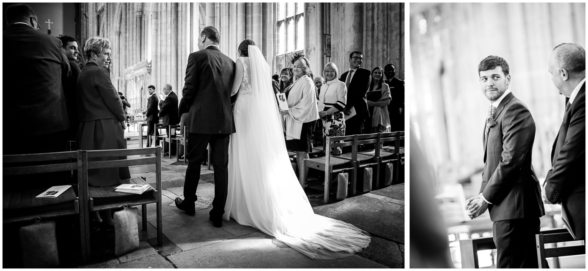 winchester cathedral wedding photography bride starts walk down aisle