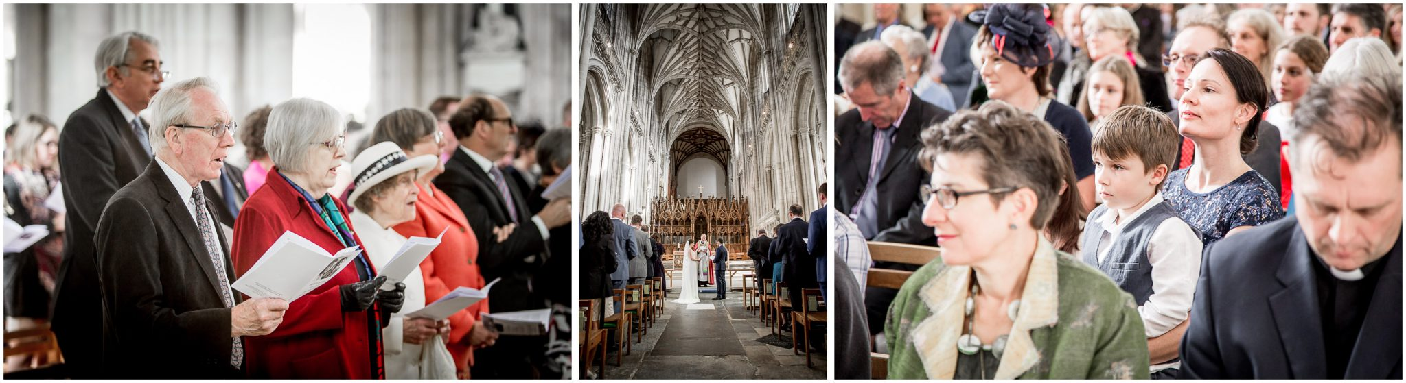 winchester cathedral wedding photography couple and guests during ceremony