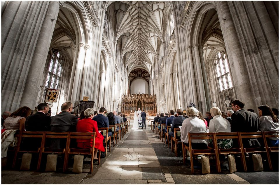 winchester cathedral wedding photography bride and groom marriage service