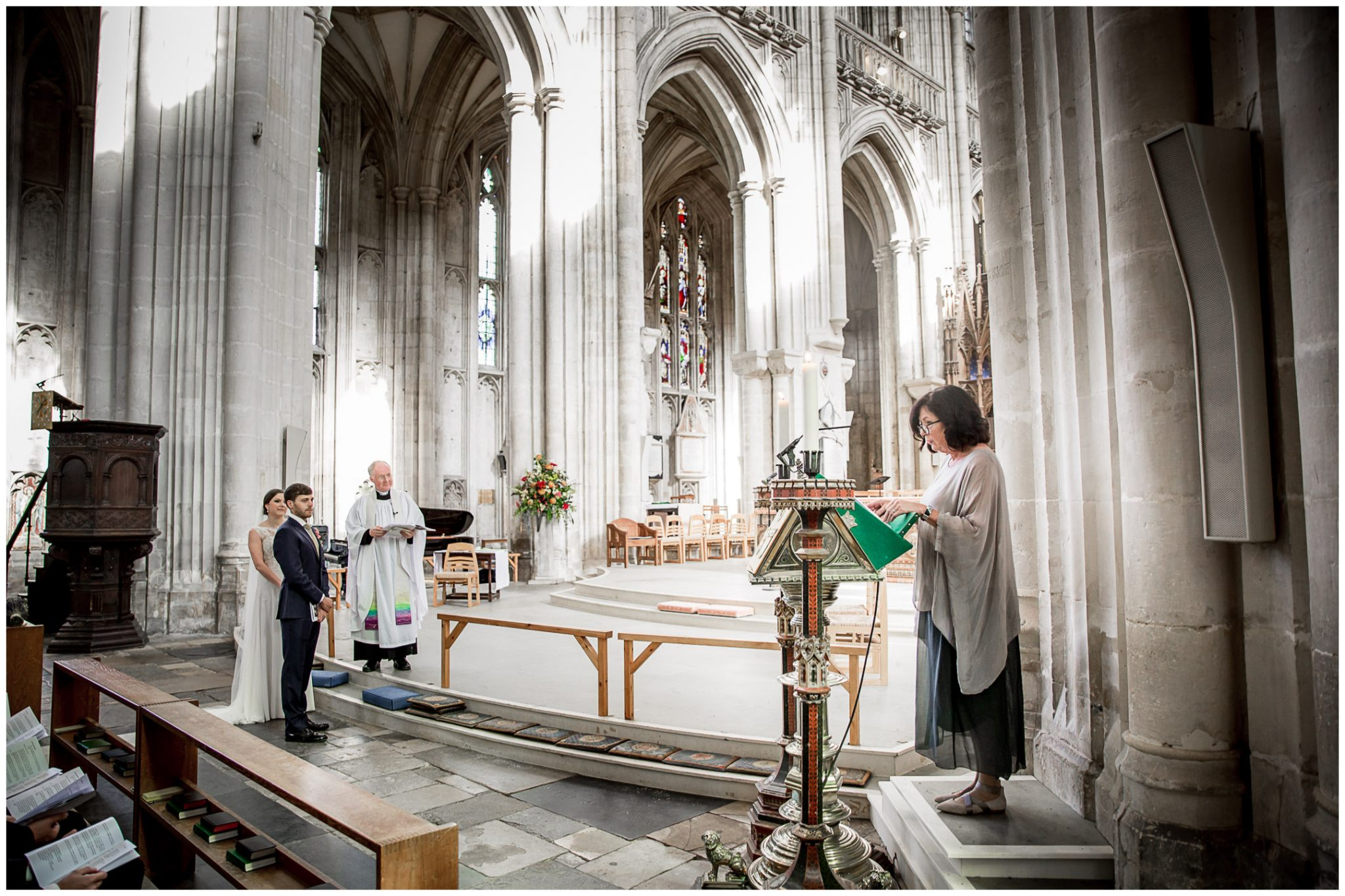 winchester cathedral wedding photography reading during ceremony