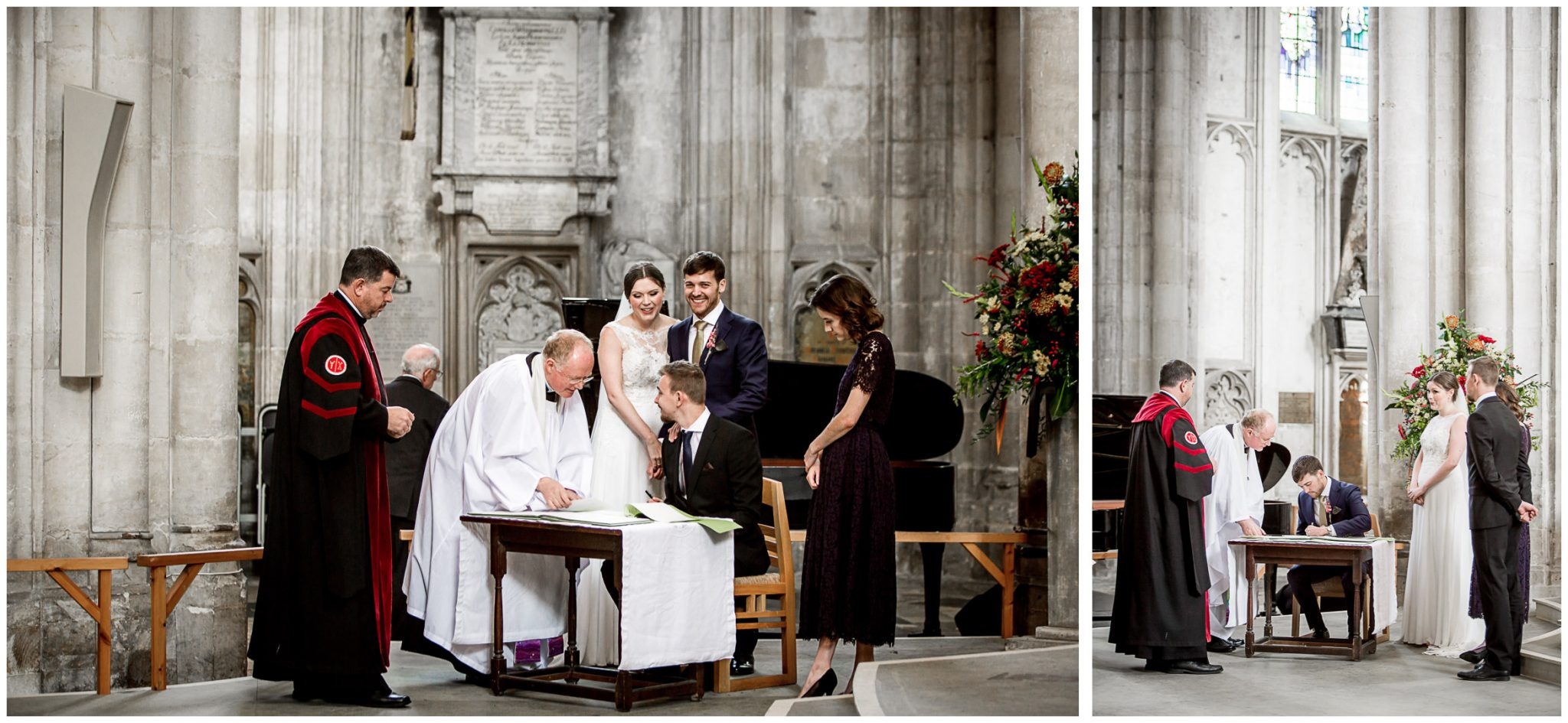 winchester cathedral wedding photography signing of the register