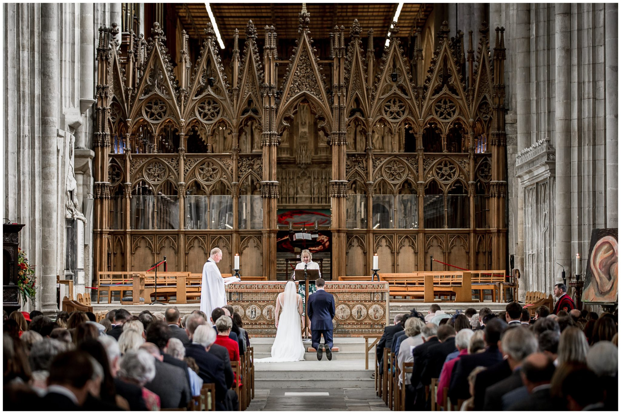 winchester cathedral wedding photography the blessing view from rear of church