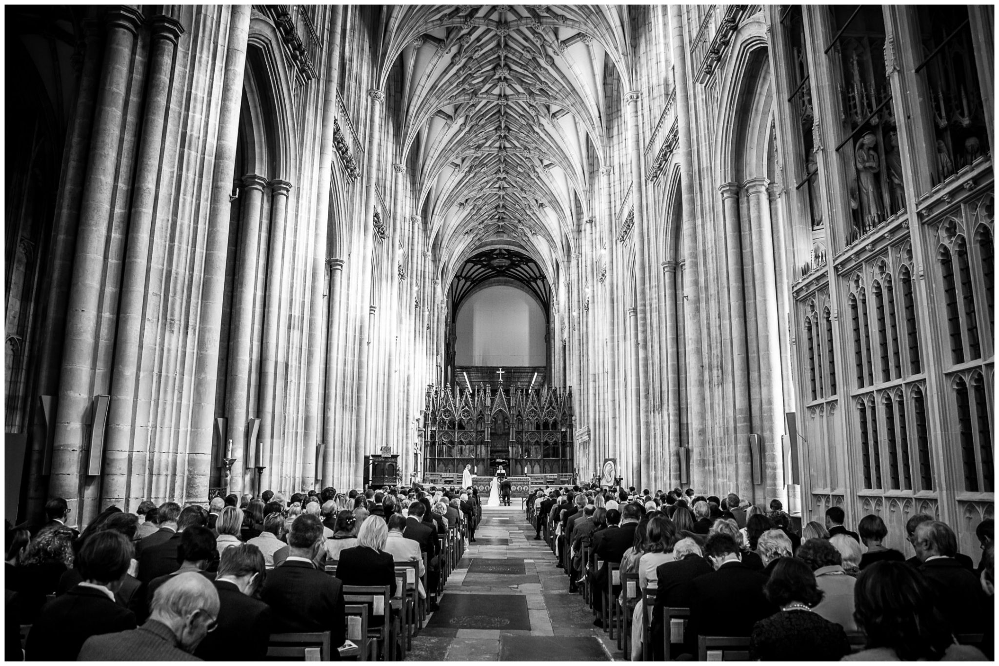 winchester cathedral wedding photography church interior in black and white