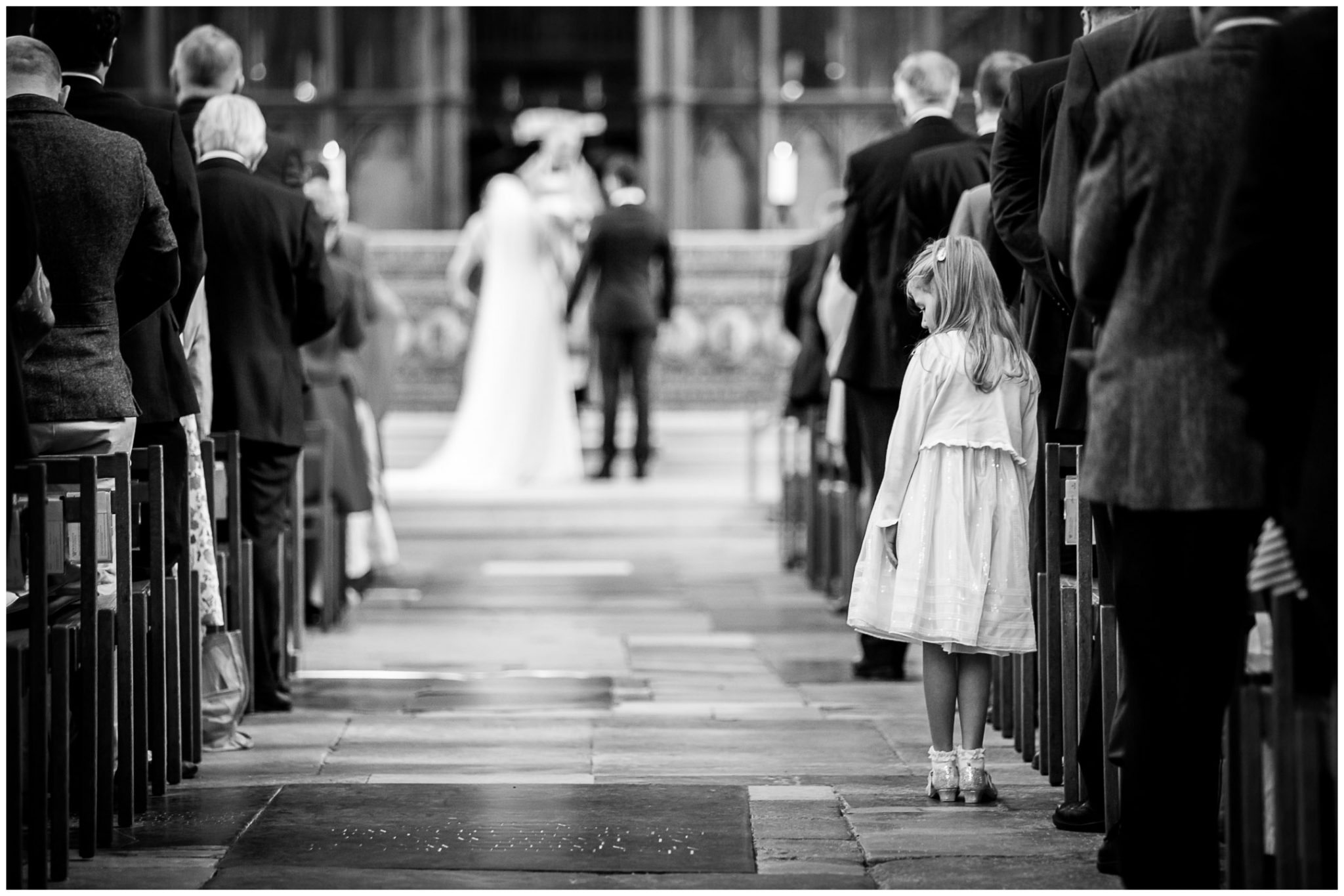 winchester cathedral wedding photography young guest black and white
