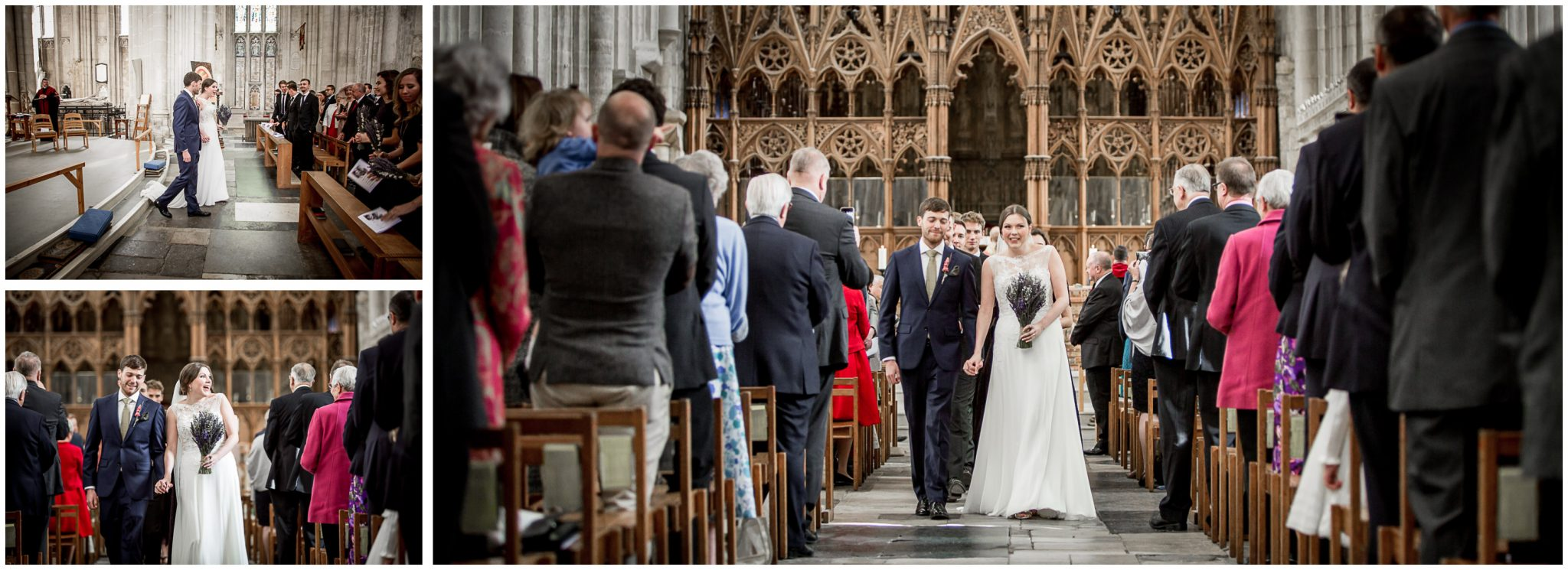 winchester cathedral wedding photography bride and groom walk down aisle together