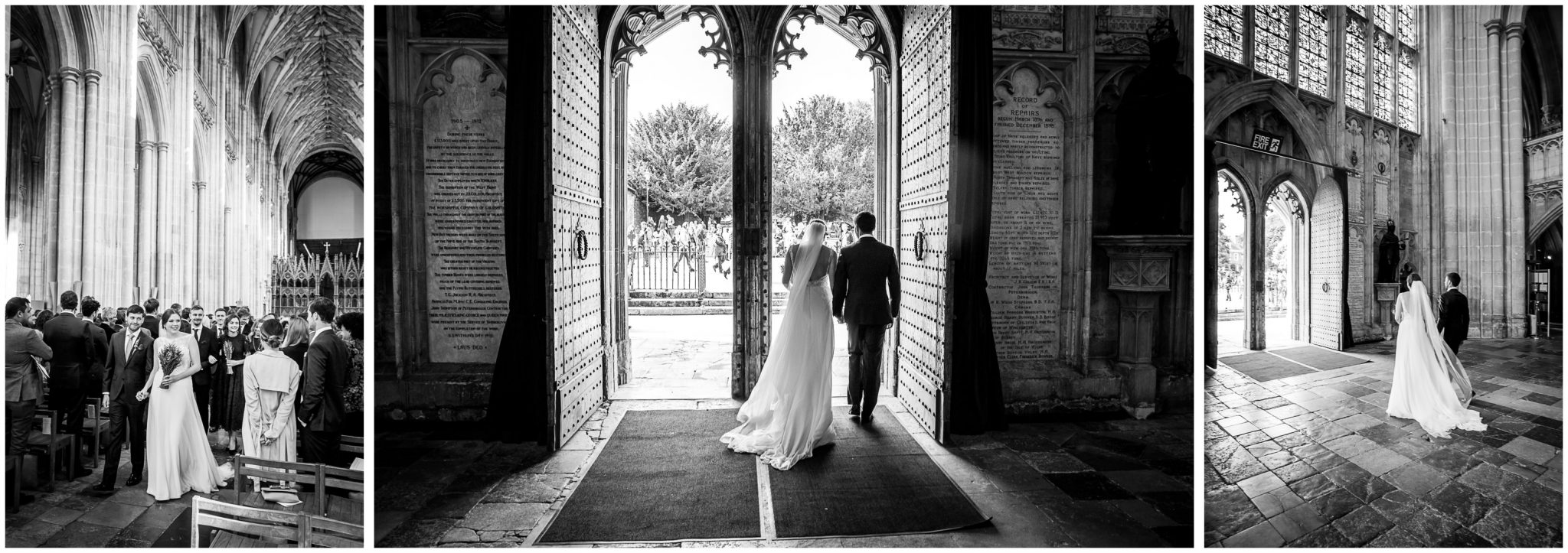 winchester cathedral wedding photography bride and groom exiting church