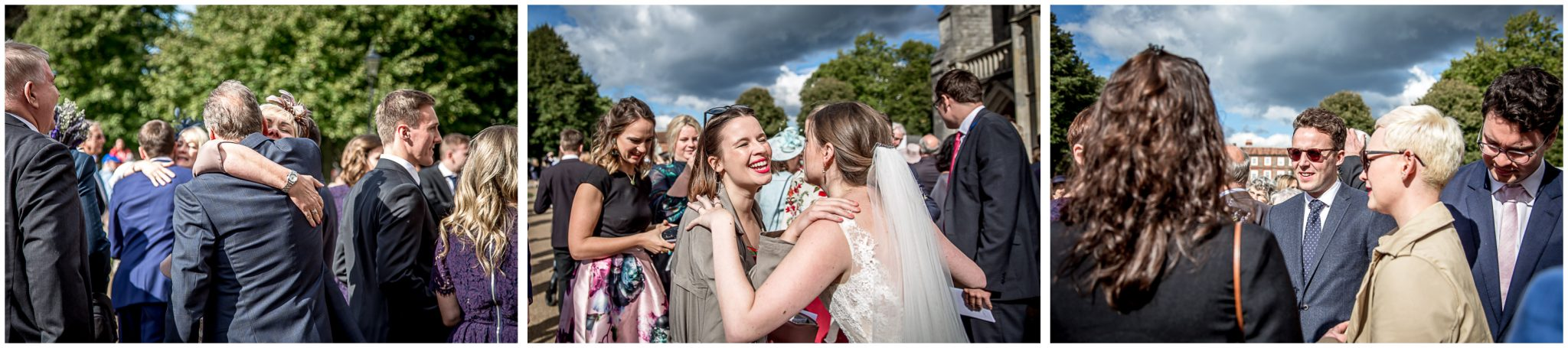 winchester cathedral wedding photography couple congratulated by guests