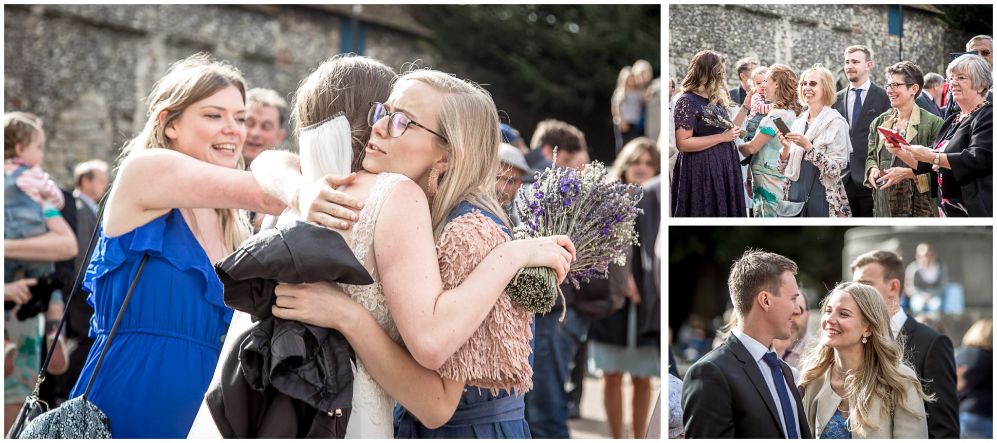 winchester cathedral wedding photography hugs and kisses for bride and groom