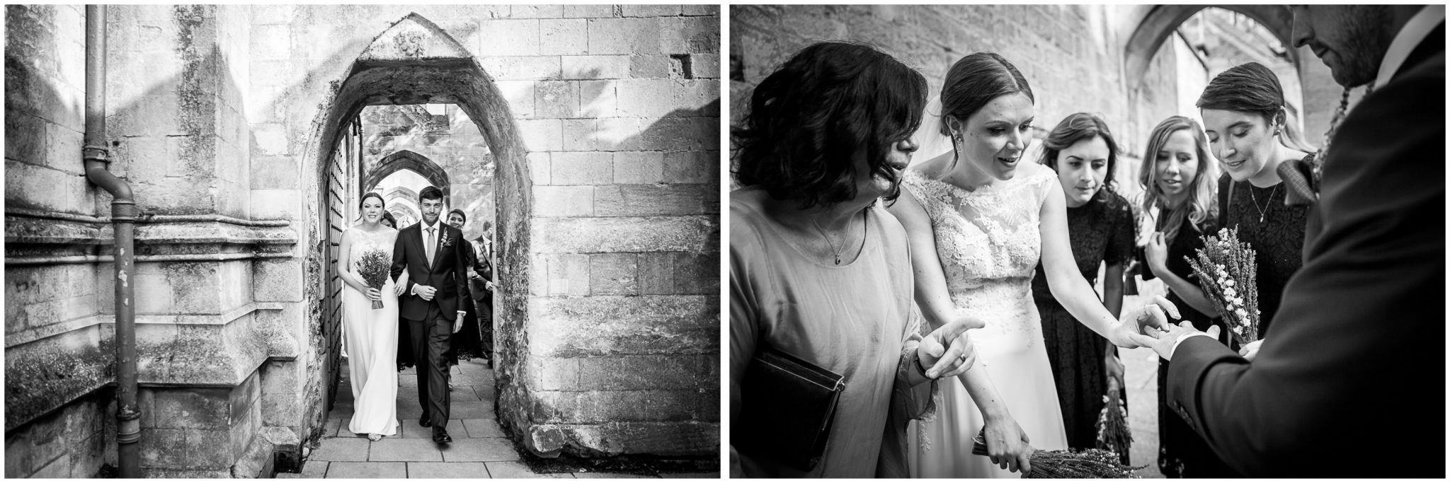 winchester cathedral wedding photography black and white photos in the cloisters