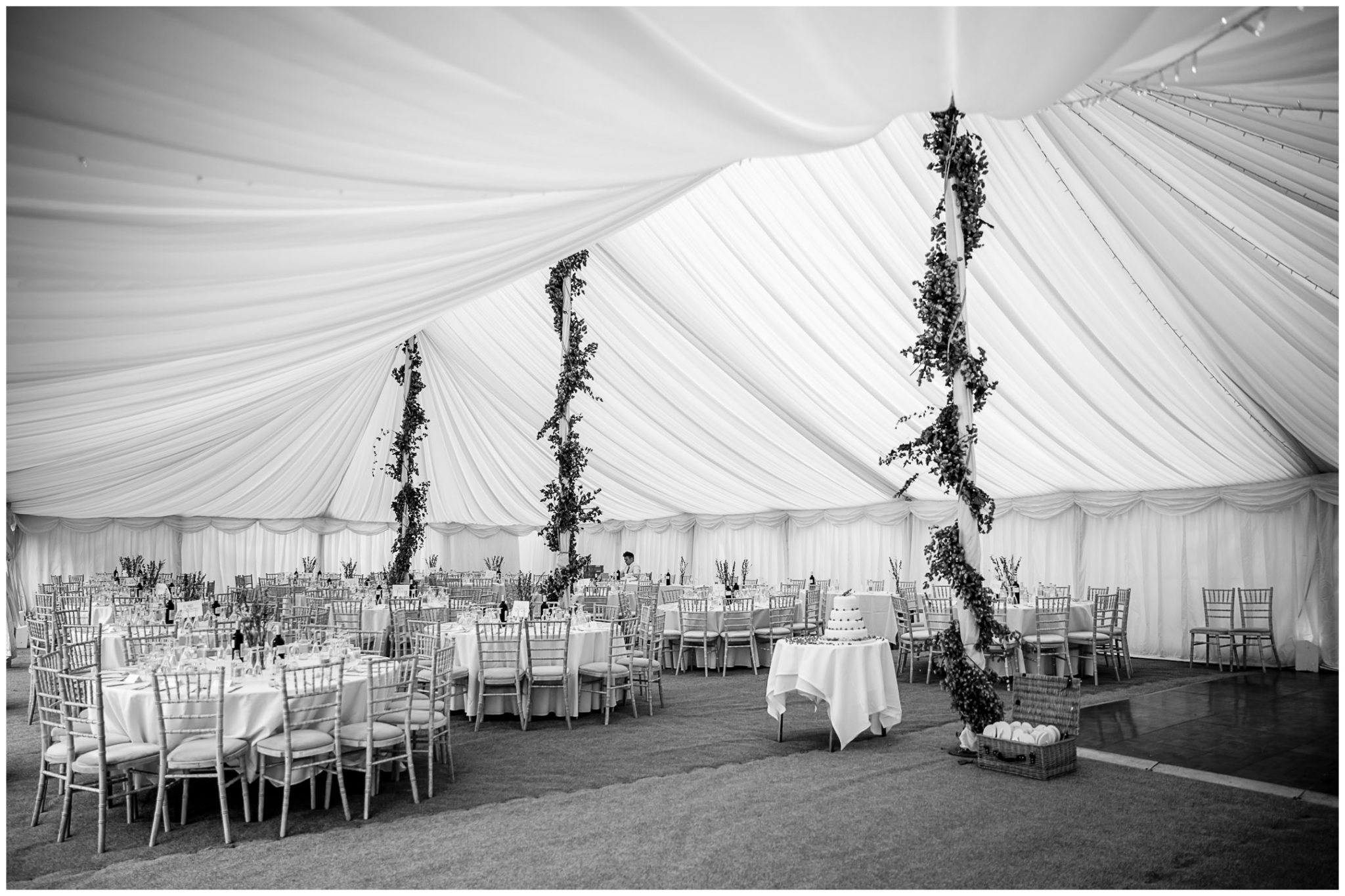 Old Alresford Place wedding photography reception marquee interior