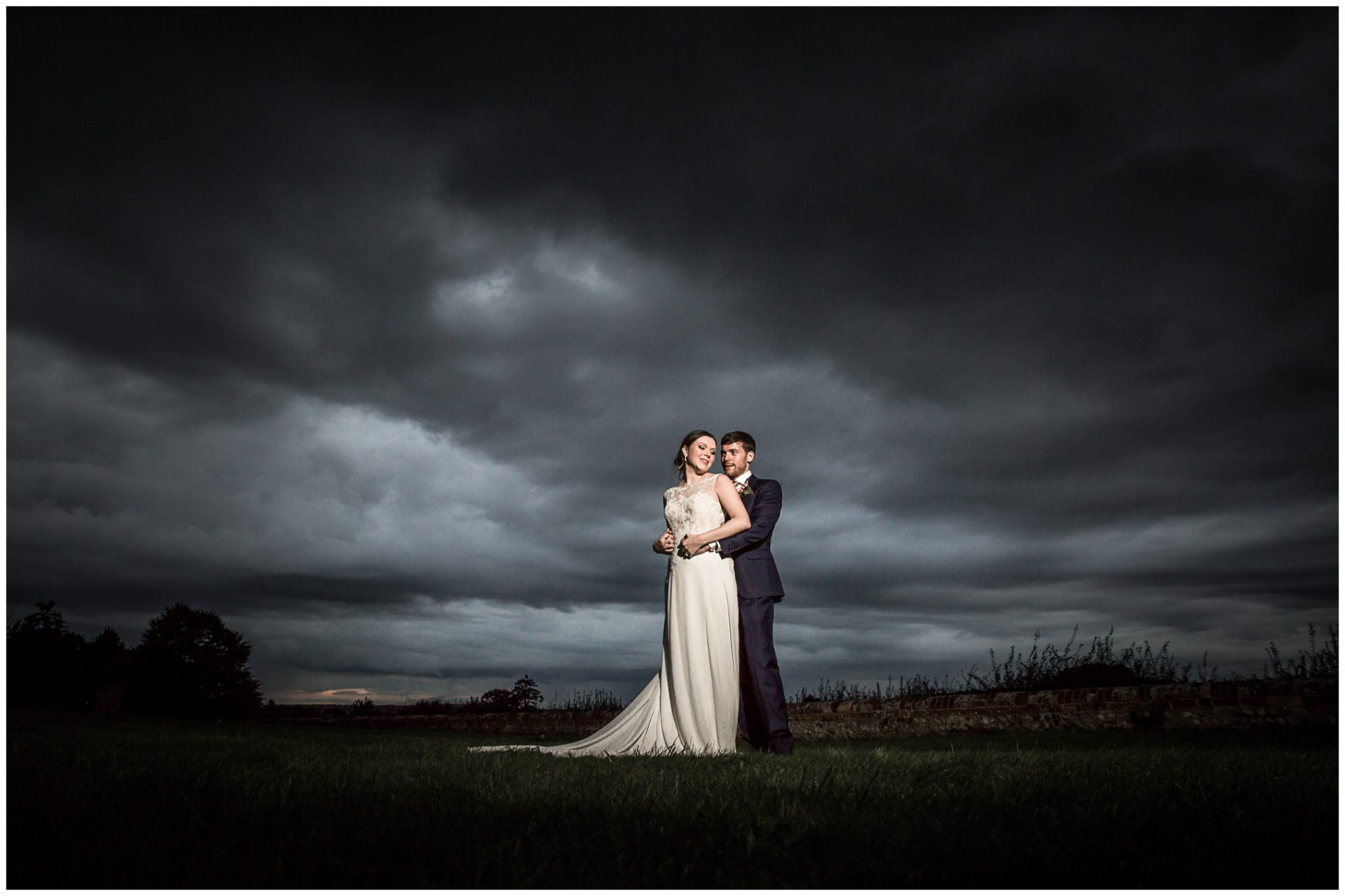 Old Alresford Place wedding photography couple portrait moody skies