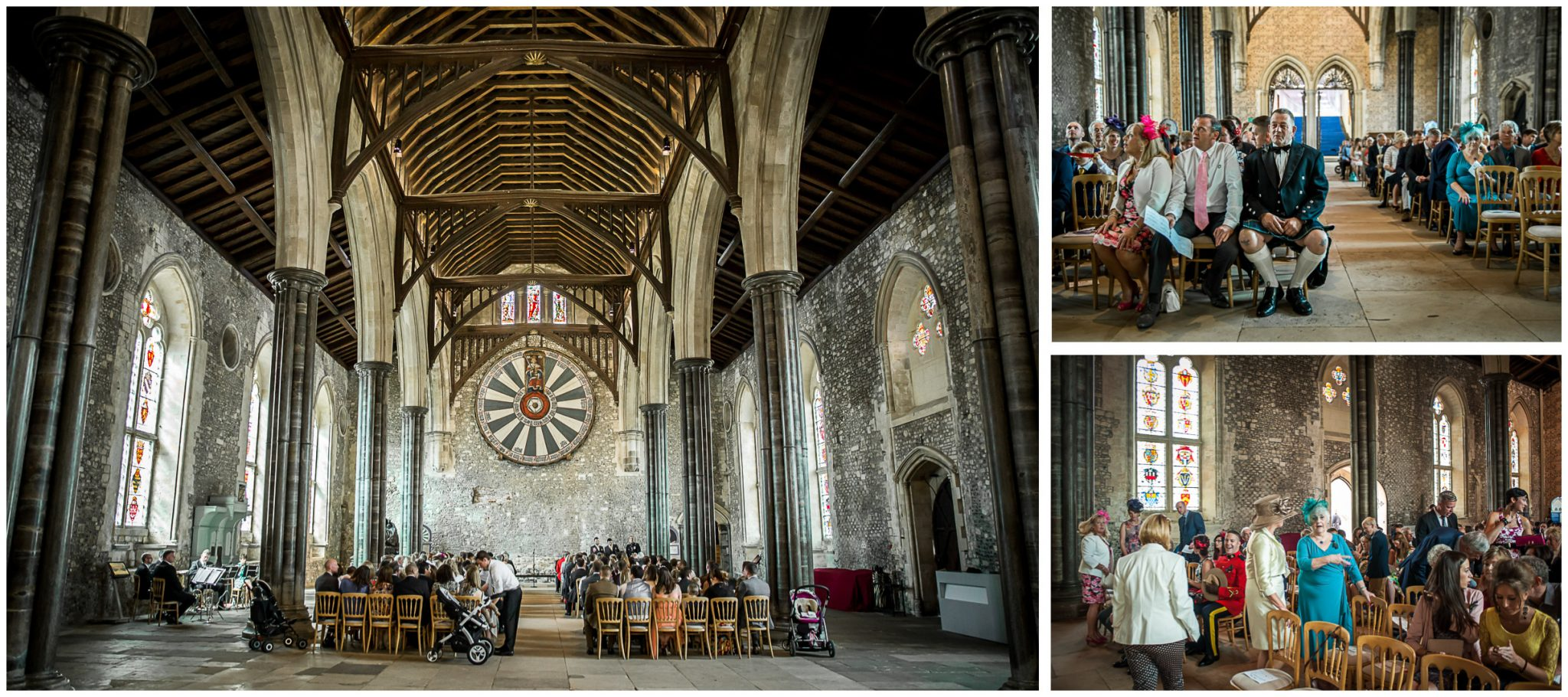 Winchester Great Hall wedding photography guests taking seats in hall