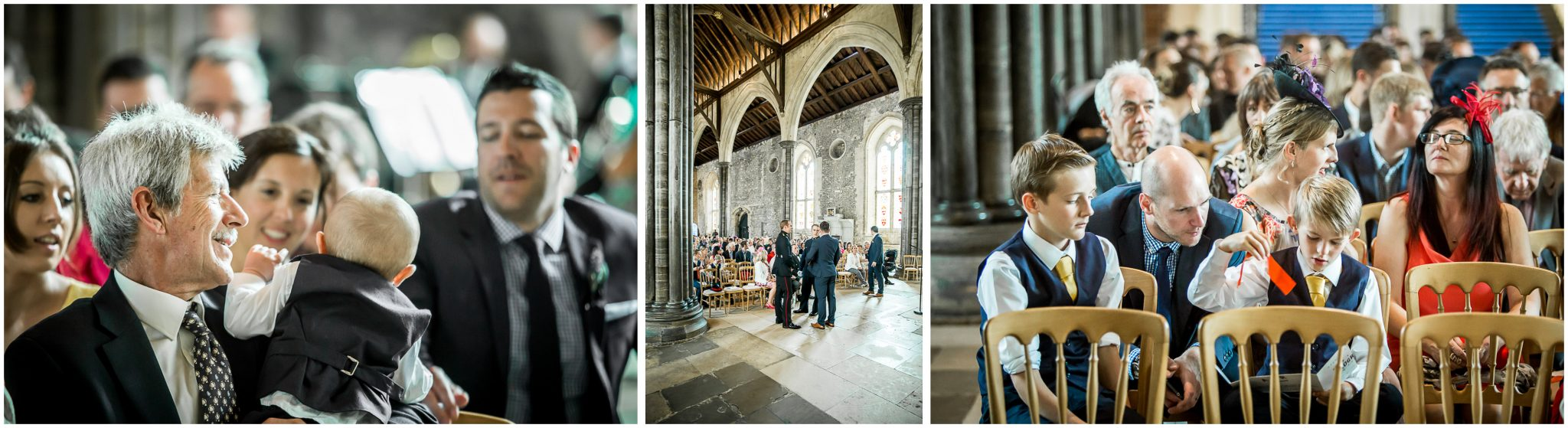 Winchester Great Hall wedding photography guests before ceremony