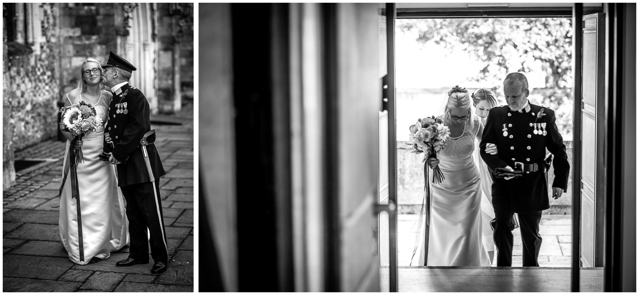 Winchester Great Hall wedding photography bride arrives