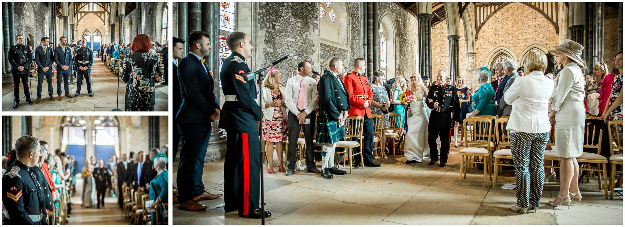 Winchester Great Hall wedding photography bride walks down the aisle on father's arm