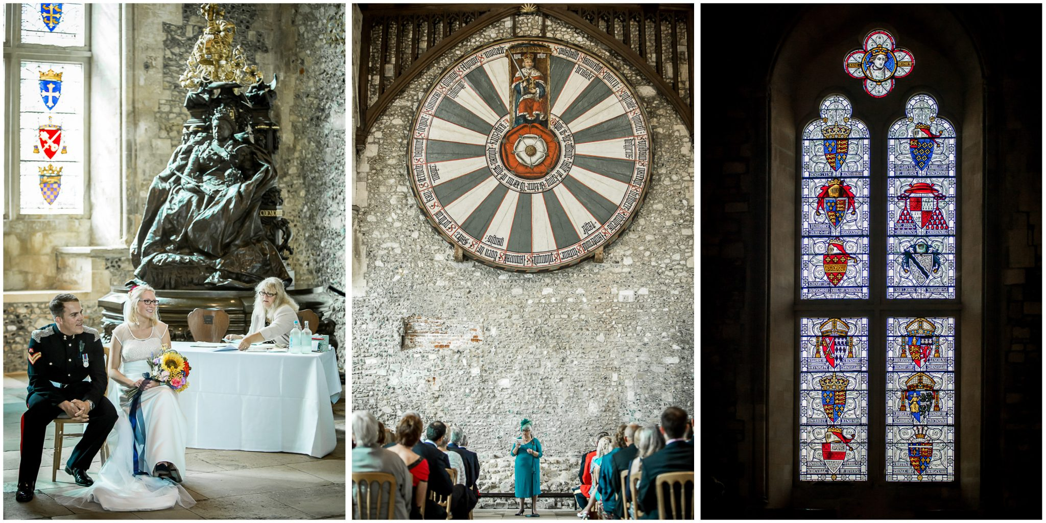 Winchester Great Hall wedding photography reading during ceremony