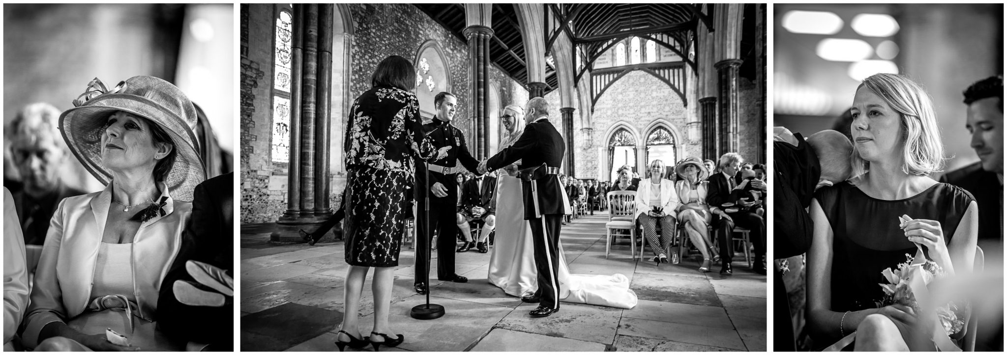 Winchester Great Hall wedding photography bride's father shakes groom's hand as guests watch