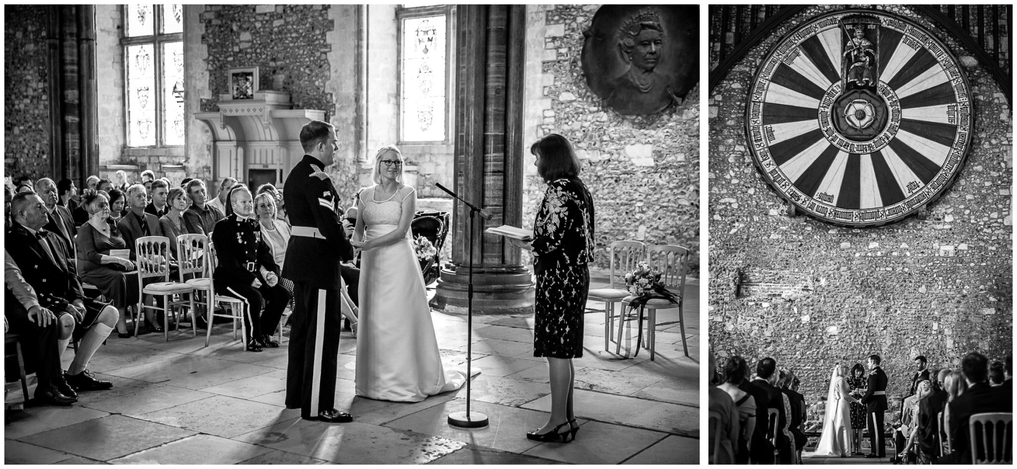 Winchester Great Hall wedding photography marriage ceremony beneath King Arthur's Round Table