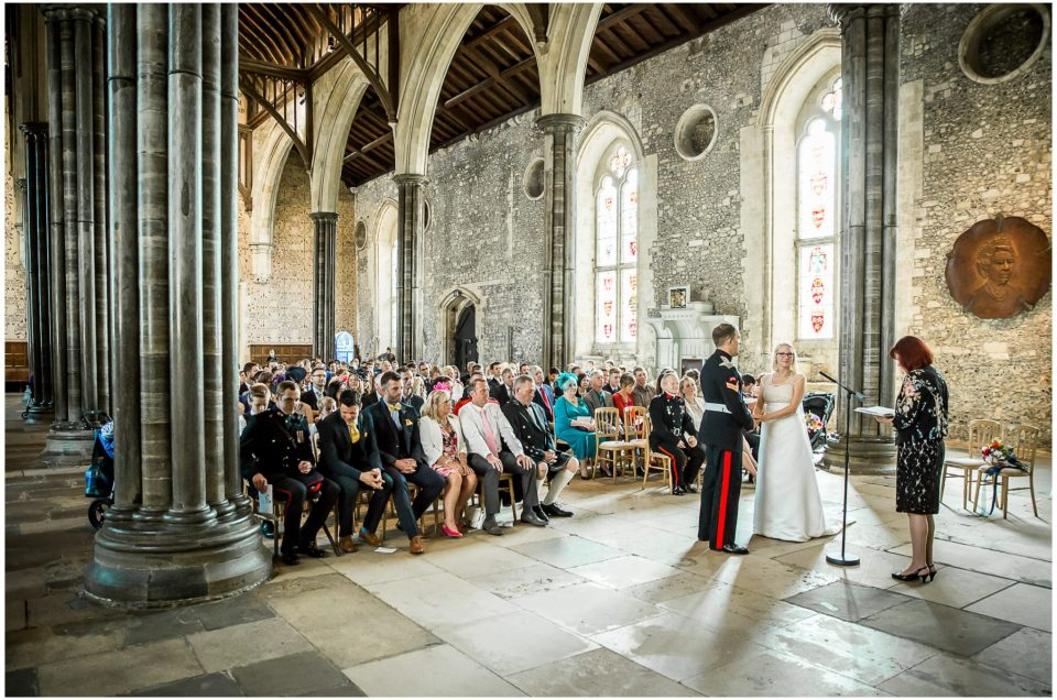 Winchester Great Hall wedding photography couple marrying in hall