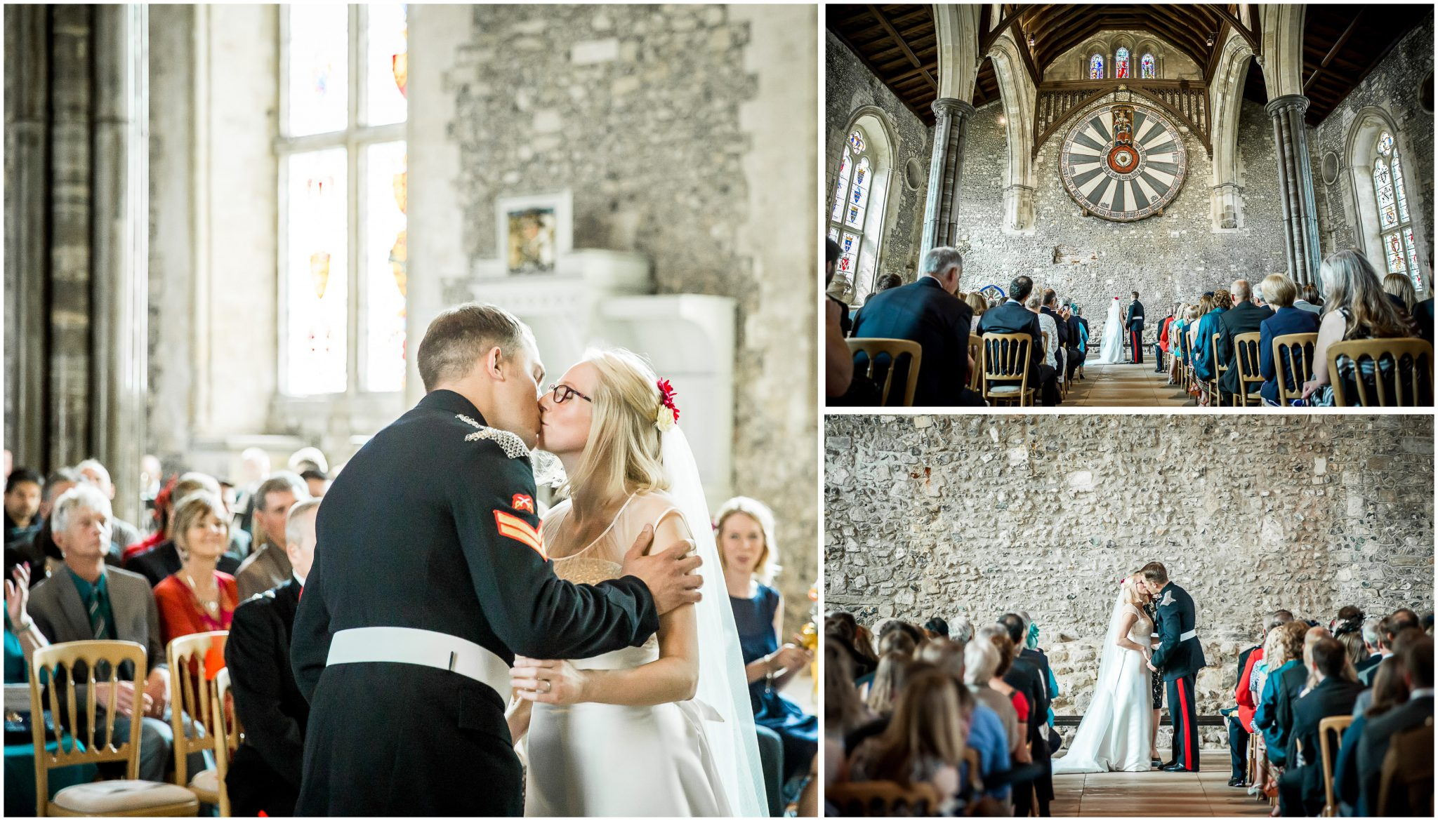 Winchester Great Hall wedding photography the kiss beneath the round table