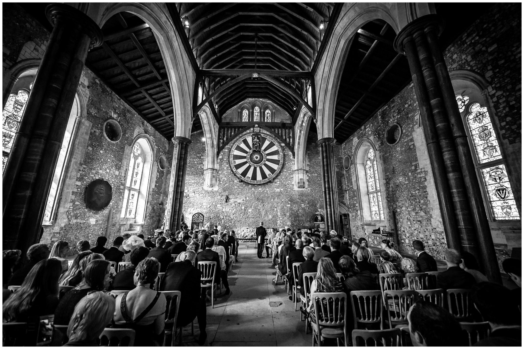 Winchester Great Hall wedding photography wide view from back of ceremony room