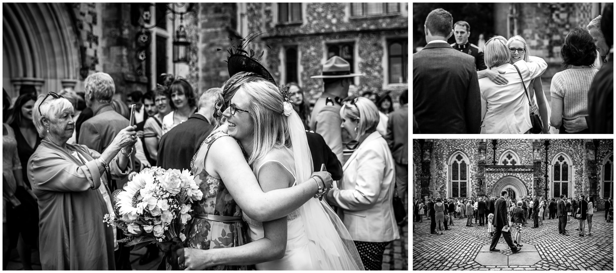 Winchester Great Hall wedding photography kisses and hugs for couple