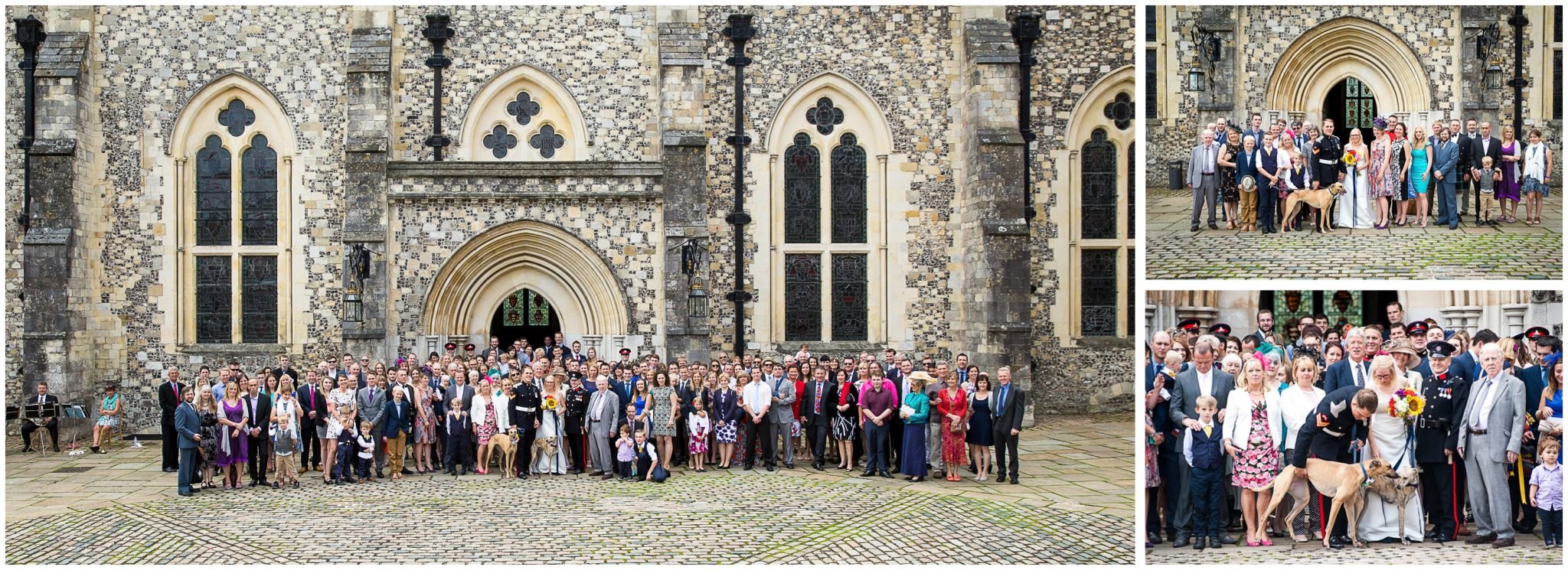 Winchester Great Hall wedding photography group photos outside main entrance