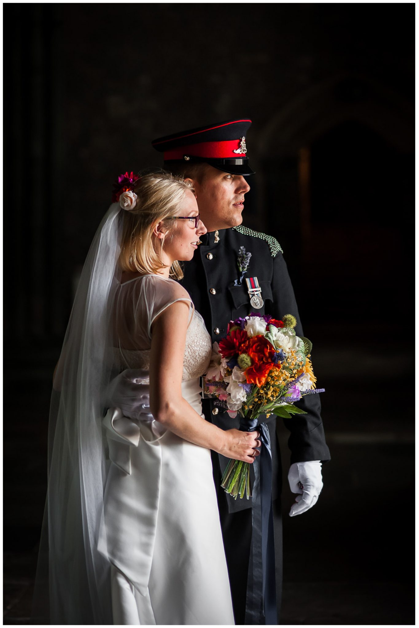 Winchester Great Hall wedding photography bride and groom portrait in natural light